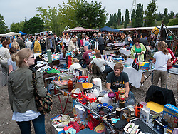 Busy weekend flea Market at Mauer Park in Prenzlauer Berg district of Berlin