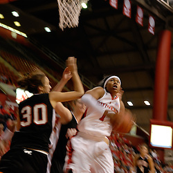 Nov 18, 2008; Piscataway, NJ, USA; Rutgers guard Khadijah Rushdan (1) goes up for a basket against Princeton's Lauren Edwards (30) during the second half of Rutgers' 83-35 victory at Louis Brown Athletic Center .