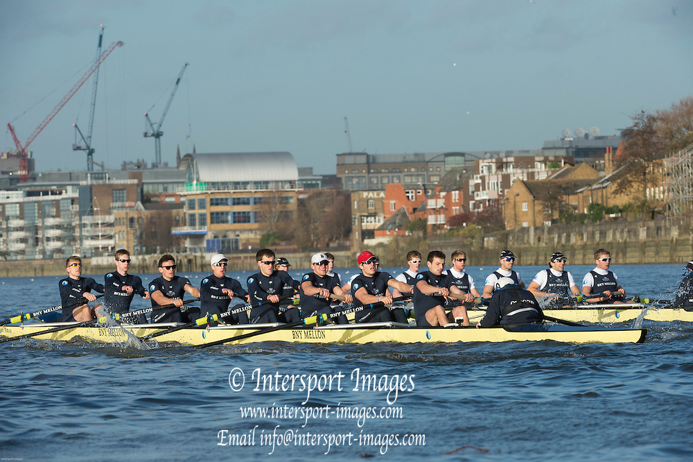London, United  Kingdom. Oxford University Men's Boat Club,Trial Eights.  Crews Per Terram on the Middx Station [right] and  Par Mare Surrey Station Left. <br /> BNY Mellon Men&rsquo;s Boat Race trial Eights . Putney-Mortlake. River Thames, Championship Course. Wednesday  10/12/2014  <br /> [Mandatory Credit:  /Intersport Images] .   Empacher