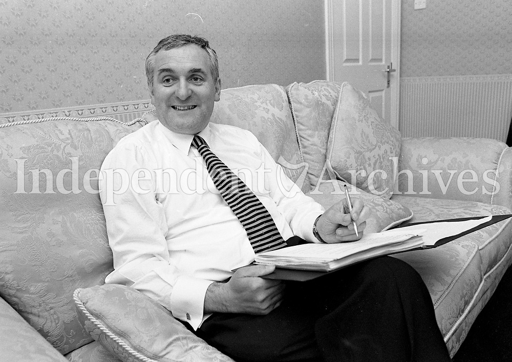 Fianna Fail Leader Bertie Ahern at his home in Drumcondra, Dublin, 03/06/1997 (Part of the Independent Newspapers Ireland/NLI Collection).