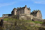 Edinburgh Castle on Castle Rock, in Edinburgh, Scotland. The first royal castle built here was under David I in the 12th century, and the site has been built on, attacked and defended ever since. The castle now houses military museums and the National War Museum of Scotland and is run by Historic Scotland. Picture by Manuel Cohen