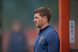 KIRKBY, ENGLAND - Saturday, August 19, 2017: Liverpool's Under-18 manager Steven Gerrard before an Under-18 FA Premier League match between Liverpool and Blackburn Rovers at the Kirkby Academy. (Pic by David Rawcliffe/Propaganda)