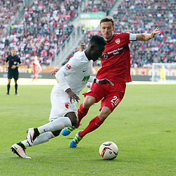 16.04.2016, WWK Arena, Augsburg, GER, 1. FBL, FC Augsburg vs VfB Stuttgart, 30. Runde, im Bild Daniel Opare (FC Augsburg) Christian Gentner (VfB Stuttgart) // during the German Bundesliga 30th round match between FC Augsburg and VfB Stuttgart at the WWK Arena in Augsburg, Germany on 2016/04/16. EXPA Pictures © 2016, PhotoCredit: EXPA/ Eibner-Pressefoto/ Langer<br /> <br /> *****ATTENTION - OUT of GER*****