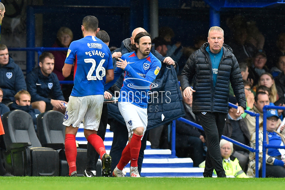Substitution - Ryan Williams (7) of Portsmouth replaces Gareth Evans (26) of Portsmouth during the EFL Sky Bet League 1 match between Portsmouth and Gillingham at Fratton Park, Portsmouth, England on 12 October 2019.