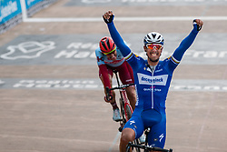Victory by Philippe Gilbert (BEL) of Deceuninck - Quick Step (WT) during the 2019 Paris-Roubaix (1.UWT) with 257 km racing from Compiègne to Roubaix, France. 14th april 2019. Picture: Pim Nijland | Peloton Photos  <br /> <br /> All photos usage must carry mandatory copyright credit (Peloton Photos | Pim Nijland)