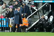 Newcastle United manager Rafael Benitez checks his watch in stoppage time during the Premier League match between Newcastle United and Huddersfield Town at St. James's Park, Newcastle, England on 31 March 2018. Picture by Craig Doyle.