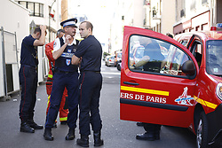 August 9, 2017 - Paris, France - Police at the scene. The man suspected of ramming a car into a group of soldiers on Wednesday in a Paris suburb has been shot and arrested on a motorway in northern France. The attack injured six soldiers in what appeared to be a carefully timed ambush before speeding away, officials said. The driver's motive was unclear, but officials said he deliberately aimed at the soldiers. (Credit Image: © Panoramic via ZUMA Press)