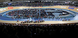 General view during the Women's Omnium Scratch Race 1/4 during day two of the Tissot UCI Track Cycling World Cup at Lee Valley VeloPark, London.
