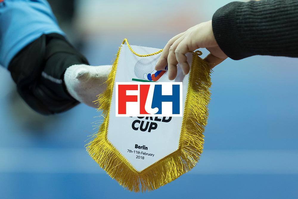 Hockey, Seizoen 2017-2018, 08-02-2018, Berlijn,  Max-Schmelling Halle, WK Zaalhockey 2018 MEN, Belgium - Russia 4-5, Worldcup Indoor Sign  Worldsportpics copyright Willem Vernes