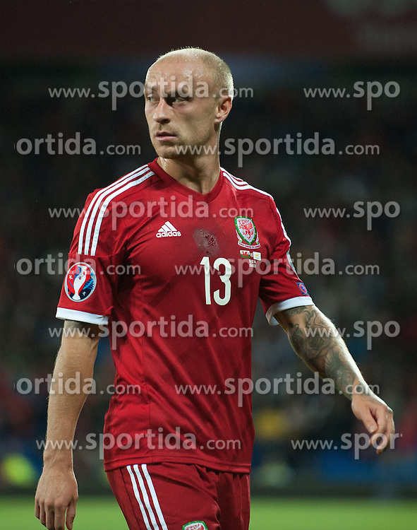 13.10.2014, City Stadium, Cardiff, WAL, UEFA Euro Qualifikation, Wales vs Zypern, Gruppe B, im Bild Wales David Cotterill in action against Cyprus // 15054000 during the UEFA EURO 2016 Qualifier group B match between Wales and Cyprus at the City Stadium in Cardiff, Wales on 2014/10/13. EXPA Pictures &copy; 2014, PhotoCredit: EXPA/ Propagandaphoto/ Ian Cook<br /> <br /> *****ATTENTION - OUT of ENG, GBR*****