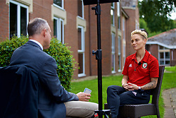 NEWPORT, WALES - Tuesday, August 28, 2018: Wales' Jessica Fishlock is interviewed by a television reporter during a media session at the Coldra Court Hotel ahead of the final FIFA Women's World Cup 2019 Qualifying Round Group 1 match against England. (Pic by David Rawcliffe/Propaganda)