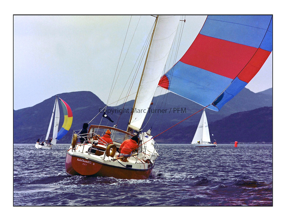 The Clyde Cruising Club's 1977 Tomatin Trophy the first Scottish Series held at Tarbert Loch Fyne.  An overnight race from Gourock to Campbeltown then on to Olympic Triangles in Loch Fyne. <br /> <br /> 571C Salamander II John Corson, <br /> <br /> <br /> Picture Copyright  PFM Pictures