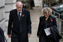 © Licensed to London News Pictures. 12/11/2017. London, UK. First Secretary of state Damian Green walks with his wife Alicia Collinson through Downing Street to attend the Remembrance Sunday Ceremony at the Cenotaph in Whitehall. Photo credit: Peter Macdiarmid/LNP