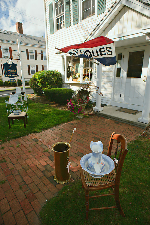 Goods for sale on lawn of Lawson Antique shop, Madison, Connecticut, US