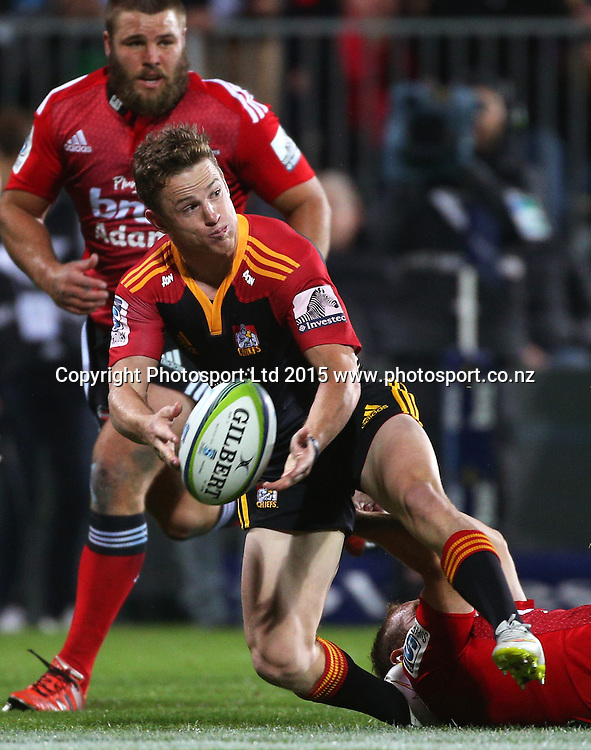 Brad Weber of the Chiefs passing the ball during the Investec Super Rugby game between the Crusaders v Chiefs at AMI Stadium i Christchurch. 17 April 2015 Photo: Joseph Johnson/www.photosport.co.nz