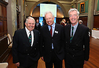 REPRO FREE***PRESS RELEASE NO REPRODUCTION FEE***<br /> Irish Sailing Awards, Royal College of Surgeons, Stephen's Green, Dublin 4/2/2016<br /> National Yacht Club sailor Liam Shanahan was named the 2015 Irish Sailor of the Year today at the Irish Sailing Awards in Dublin - Shanahan had a remarkable year, including victory in the Dun Laoghaire to Dingle race in June on his boat Ruth with two miles to spare.<br /> Kilkenny's Doug Elmes and Malahide's Colin O'Sullivan jointly took home the Irish Sailing Association (ISA) Youth Sailor of the Year award. The Howth Yacht Club sailors were hotly tipped following their recent Bronze medal success at the 2015 Youth World Championships in Malaysia, where they took Ireland's first doublehanded youth worlds medal in 19 years.<br /> The Mitsubishi Motors Sailing Club of the Year award was presented to the Royal Irish Yacht Club in honour of their success at local, national and international level.<br /> Mullingar Sailing Club took home the ISA Training Centre of the Year award, having been nominated as winners of the western-region Training Centre of the Year.<br /> Pictured is David Williamson (RYA Chairman) David Lovegrove (ISA President) Brian Craig (ISA board member)<br /> Mandatory Credit ©INPHO/Cathal Noonan