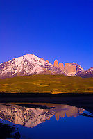 The Towers of Paine (gigantic granite monoliths) and the Cuernos del Paine Mountains, Torres del Paine National Park, Patagonia, Chile