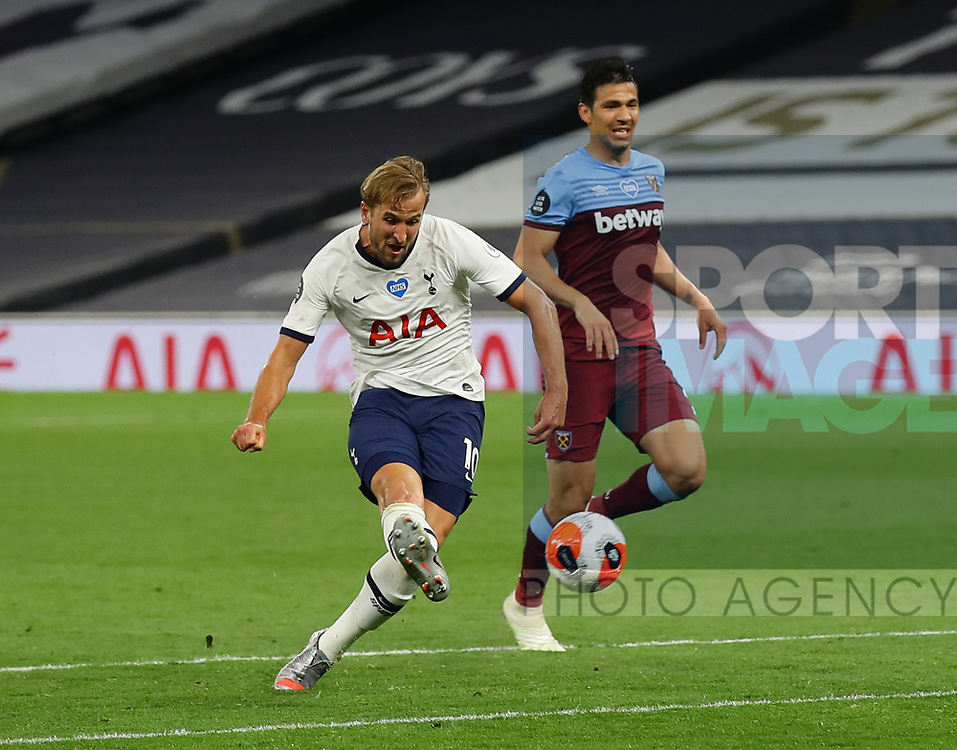 Harry Kane of Tottenham scores the second goal  during the Premier League match at the Tottenham Hotspur Stadium, London. Picture date: 23rd June 2020. Picture credit should read: David Klein/Sportimage