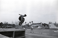 Skateboarders compete in a street skateboarding contest at the YMCA around the spring of 1988 in Visalia, California.