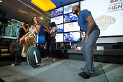 LAS VEGAS, NV - JULY 6:  Rashad Evans performs for Arianny Celeste during the UFC Lip Sync Challenge in Lagasse's Stadium at The Palazzo Las Vegas on July 6, 2016 in Las Vegas, Nevada. (Photo by Cooper Neill/Zuffa LLC/Zuffa LLC via Getty Images) *** Local Caption *** Arianny Celeste; Rashad Evans