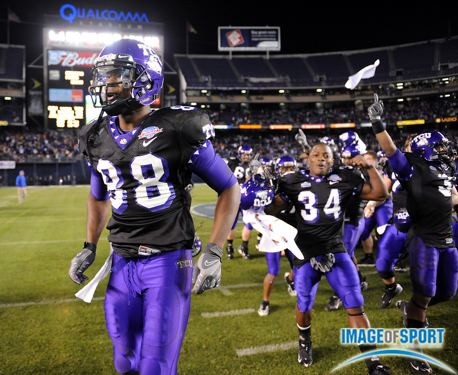 Dec 23, 2008; San Diego, CA, USA; Texas Christian Horned Frogs receiver Jimmy Young (88) celebrates after the Horned Frogs' 17-16 victory over the Boise State Broncos in the Poinsettia Bowl at Qualcomm Stadium.
