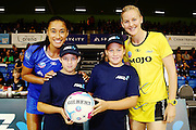 ANZ Future Captains Melissa Heavey aged 12 (R) and Billie-Jo Hickton aged 10 (L) with Maria Tutaia of the Mystics and Katrina Grant of the Pulse. 2015 ANZ Championship, Northern Mystics v Central Pulse, The Trusts Arena, Auckland, New Zealand. Photo: Anthony Au-Yeung / www.photosport.co.nz