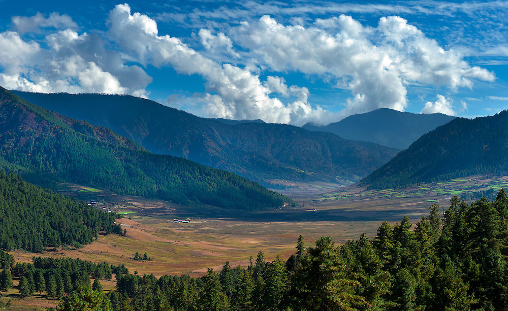 Landscape of a valley in Bumthang, Bhutan.