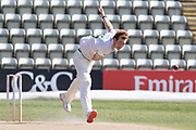 Tom Taylor bowling during the Bob Willis Trophy match between Lancashire County Cricket Club and Leicestershire County Cricket Club at Blackfinch New Road, Worcester, United Kingdom on 3 August 2020.