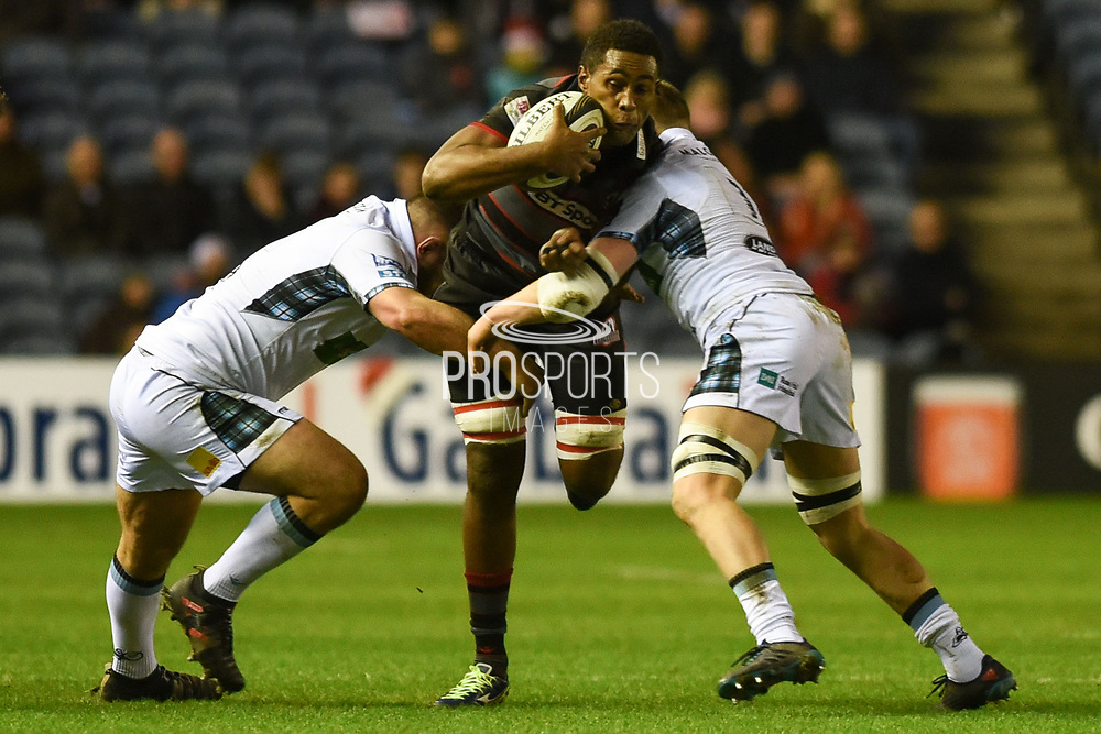 Viliame Mata under pressure during the Guinness Pro 14 2017_18 match between Edinburgh Rugby and Glasgow Warriors at Murrayfield, Edinburgh, Scotland on 23 December 2017. Photo by Kevin Murray.