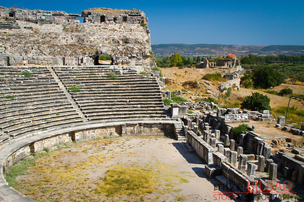 The Theater. Miletus (ancient greek) city ruins. <br /> Aydin province. Western coast of Anatolia. Turkey.