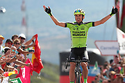 Oscar Rodriguez (ESP, Euskadi Basque Country Murias), celebrating his win during the 73th Edition of the 2018 Tour of Spain, Vuelta Espana 2018, Stage 13 cycling race, Candas Carreno - La Camperona 174,8 km on September 7, 2018 in Spain - Photo Luca Bettini / BettiniPhoto / ProSportsImages / DPPI