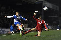 Bristol Rovers' Adam Dawson  crosses the ball - Photo mandatory by-line: Dougie Allward/JMP - Mobile: 07966 386802 - 20/03/2015 - SPORT - Football - England - Memorial Stadium - Bristol Rovers v Aldershot - Vanarama Football Conference