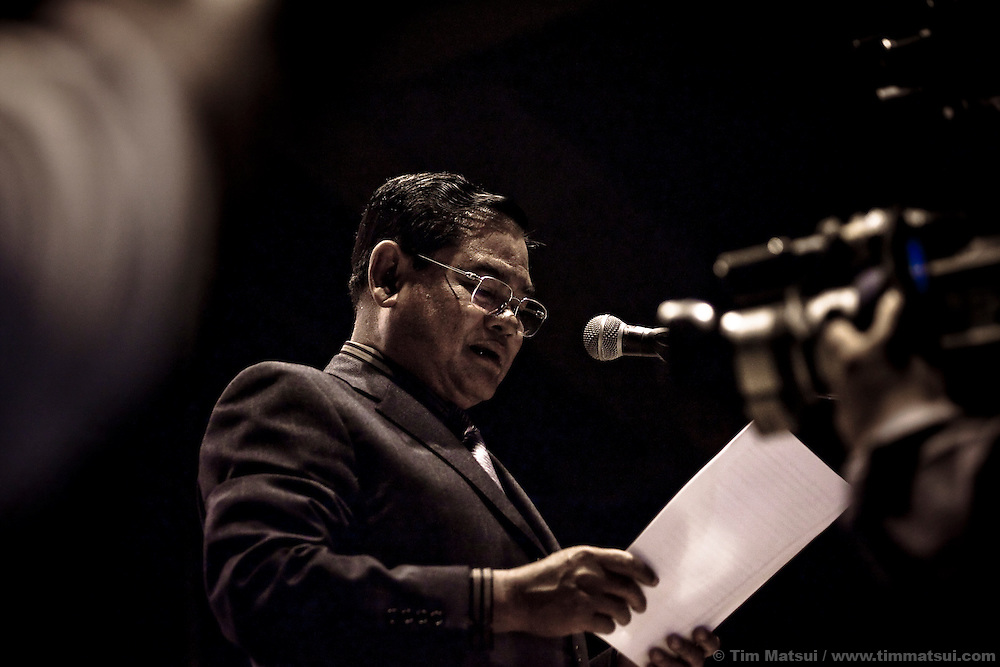 Deputy Prime Minister Sar Kheng addressing the crowd at the MTV Exit concert in Phnom Penh, Cambodia. The concert series is meant to build awareness of human trafficking and exploitation.