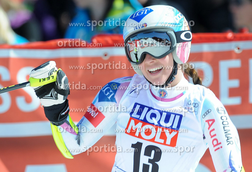 19.03.2015, Roc de Fer, Meribel, FRA, FIS Weltcup Ski Alpin, Meribel, Finale, Super G, Damen, im Bild Tina Weirather (LIE) // Tina Weirather of Lichtenstein reacts after her run for the ladie's SuperG of the FIS Ski Alpine World Cup finals at the Roc de Fer in Meribel, France on 2015/03/19. EXPA Pictures © 2015, PhotoCredit: EXPA/ Erich Spiess