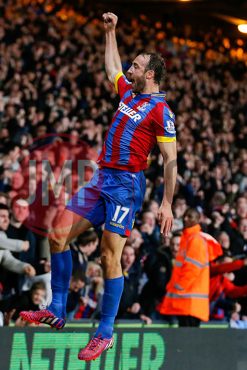 Glenn Murray of Crystal Palace celebrates scoring a goal to make it 1-0 - Photo mandatory by-line: Rogan Thomson/JMP - 07966 386802 - 06/04/2015 - SPORT - FOOTBALL - London, England - Selhurst Park - Crystal Palace v Manchester City - Barclays Premier League.