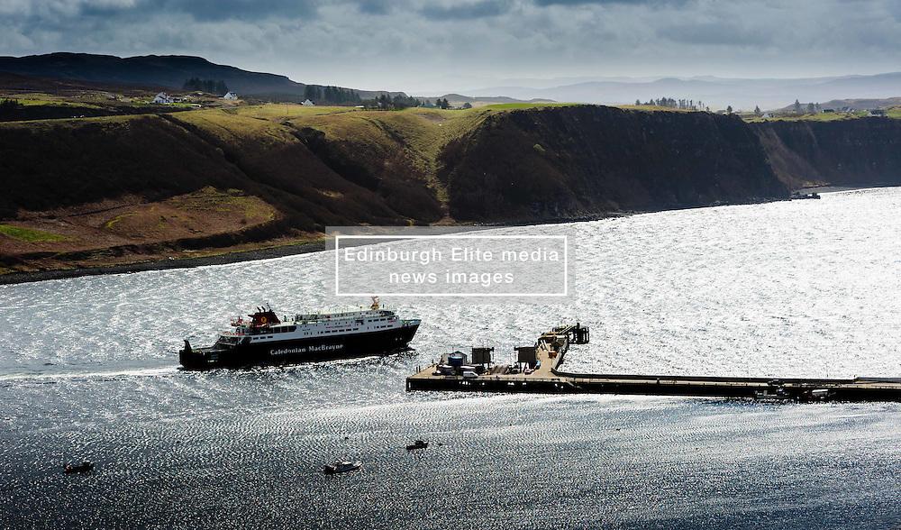"Calmac ferry ""Hebrides"" docking at Uig, Isle of Skye, Scotland<br /> <br /> (c) Andrew Wilson   Edinburgh Elite media"