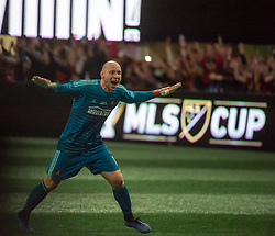 December 8, 2018 - Atlanta, Georgia, United States - Atlanta United goalkeeper BRAD GUZAN (1) celebrates winning the MLS Cup at Mercedes-Benz Stadium in Atlanta, Georgia.  Atlanta United defeats Portland Timbers 2-0 (Credit Image: © Mark Smith/ZUMA Wire)