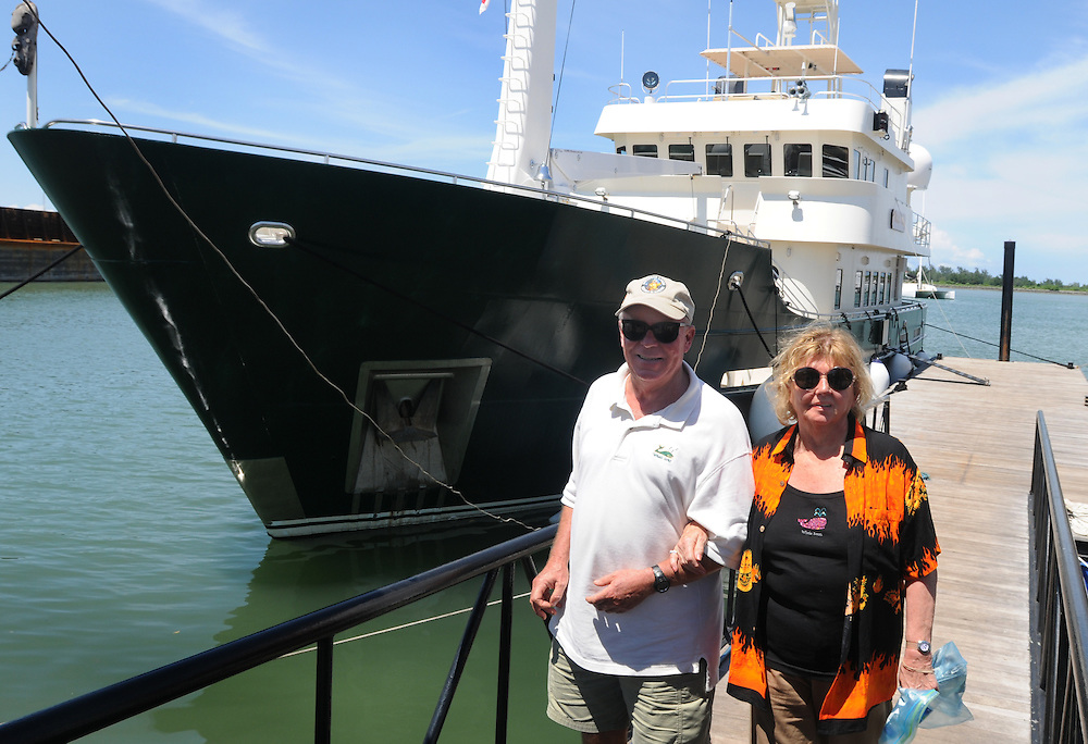 Grant and Helene Wilson going for a tour as they leave Motor Yacht Whale Song that's docked in the Indonesian Island of Bali.   Photo by Johnny Bivera