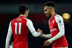 Pierre-Emerick Aubameyang of Arsenal and Mesut Ozil of Arsenal at full time. - Mandatory by-line: Alex James/JMP - 03/02/2018 - FOOTBALL - Emirates Stadium - London, England - Arsenal v Everton - Premier League