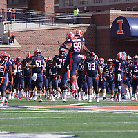 The Fighting Illini Football team comes out on the field to play Charleston Southern in Memorial Stadium.