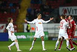 25.04.2016, Fritz Walter Stadion, Kaiserslautern, GER, 2. FBL, 1. FC Kaiserslautern vs RB Leipzig, 31. Runde, im Bild Yussuf Poulsen (Red Bull Leipzig) breitet die Arme aus // during the 2nd German Bundesliga 31th round match between 1. FC Kaiserslautern vs RB Leipzig at the Fritz Walter Stadion in Kaiserslautern, Germany on 2016/04/25. EXPA Pictures &copy; 2016, PhotoCredit: EXPA/ Eibner-Pressefoto/ Neis<br /> <br /> *****ATTENTION - OUT of GER*****
