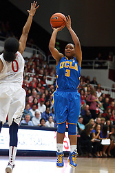 January 20, 2011; Stanford, CA, USA;  UCLA Bruins guard Darxia Morris (3) shoots over Stanford Cardinal guard Melanie Murphy (0)during the first half at Maples Pavilion.