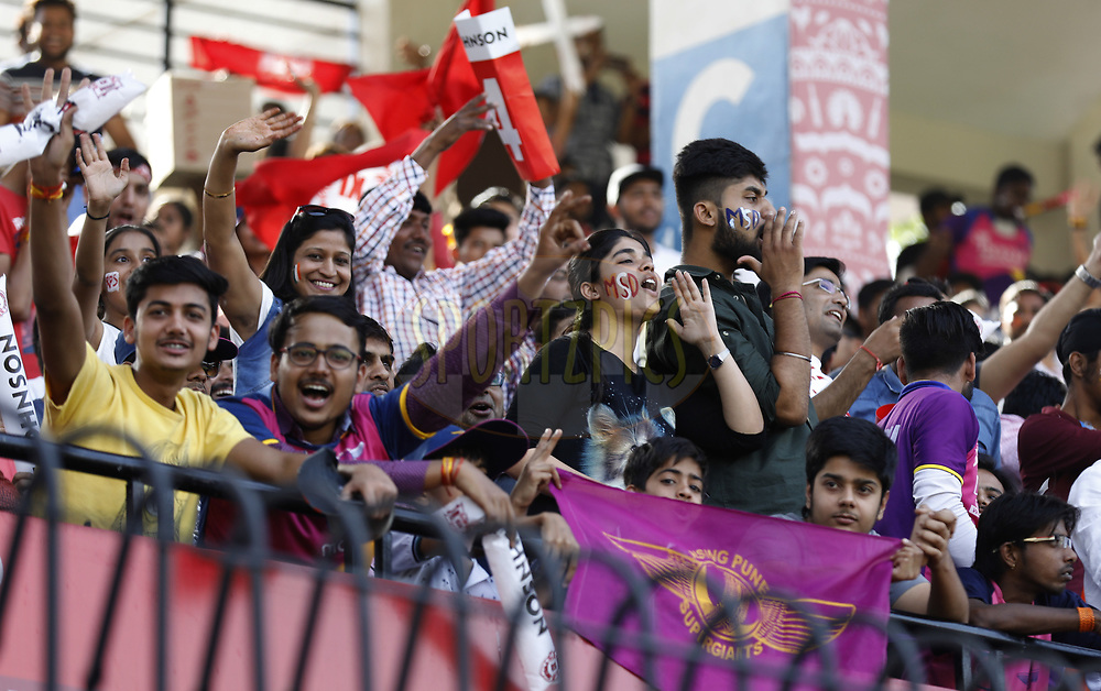 Cricket fans enjoying during match 4 of the Vivo 2017 Indian Premier League between the Kings X1 Punjab and the rising Pune Supergiant held at the Holkar Cricket Stadium in Indore, India on the 8th April 2017<br /> <br /> Photo by Arjun Singh - IPL - Sportzpics