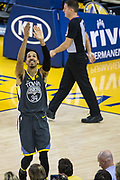 Golden State Warriors guard Shaun Livingston (34) reacts to a foul called on him against the Dallas Mavericks at Oracle Arena in Oakland, California, on February 8, 2018. (Stan Olszewski/Special to S.F. Examiner)