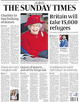 Sunday Times Page One: The Queen watches the Highland Games in Braemar, Scotland, UK, on the 5th September 2015.<br />