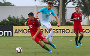 Portugal midfielder Marco Cruz (10) intercepts a pass to Slovenia midfielder Gal Puconja (8) during a CONCACAF boys under-15 championship soccer game, Sunday, August 11, 2019, in Bradenton, Fla. Portugal defeated Slovenia in the final in 2-0. (Kim Hukari/Image of Sport)