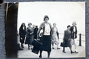 an all adult female group on a vacation trip by the sea 1900s England