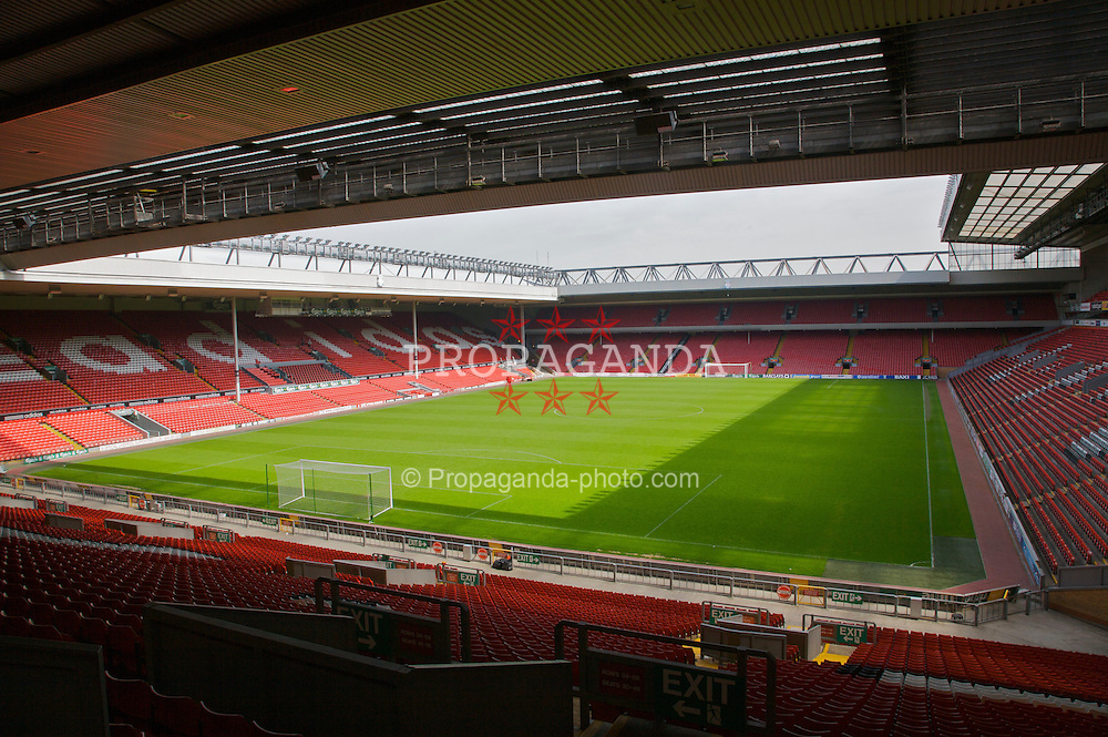 The view of the Anfield pitch from the Spion Kop, centre of Block 207.