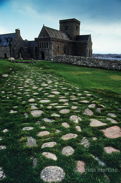 Hebrides, Iona island. The medieval paved Road of the Dead led to St.Oran's Chapel and its burial ground.