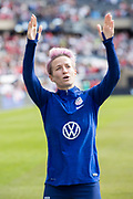 USA forward Megan Rapinoe (15) blows a kiss to the crowd following an international friendly soccer game against Korea Republic in Chicago, Sunday, Oct. 6, 2019, in Chicago. The team splayed to a 1-1 tie. (Max Siker/Image of Sport)